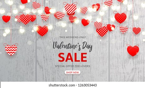 Web banner for Valentine's Day sale. Vector illustration with red and white paper garlands and glowing garlands with hearts on wooden texture. Holiday greeting card. Promo seasonal offer.