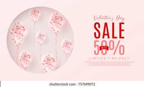 Web Banner for Valentine's Day Sale. Vector Illustration with Seasonal Offer. Beautiful Background with Realistic Transparent Pink Air Balloons with Confetti.