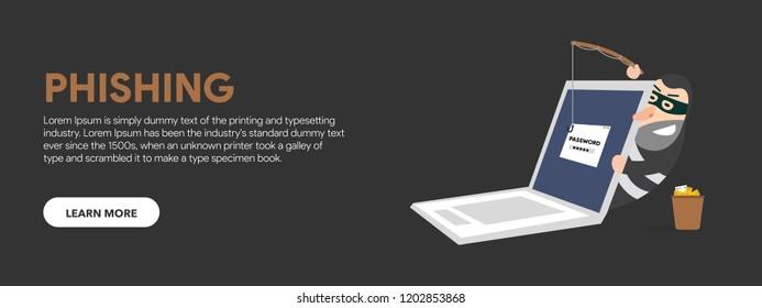 Web banner vector illustration. fraudulent computer, Internet thief Phishing