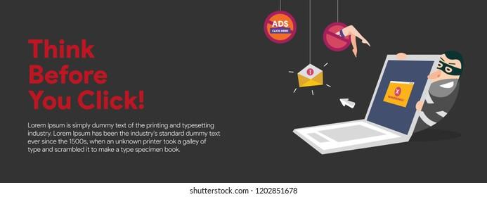 Web banner vector illustration. Think before you click, Virus protection banner design
