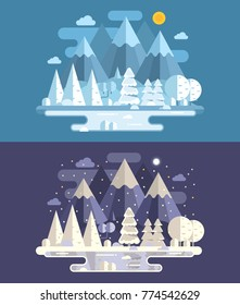 Web banners with abstract winter landscape by day and night. Snowy mountain lake forest scene backgrounds with peaks, frozen pond, wood and hills by wintertime. Vector illustration in flat design.