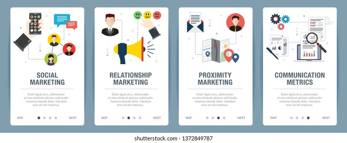 Web banners concept in vector with social marketing, relationship marketing, proximity marketing and communication metrics. Internet website banner concept with icon set. Flat design vector.