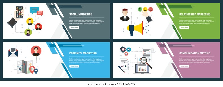 Web banners concept in vector with social marketing, relationship marketing, proximity marketing and communication metrics. Internet website banner concept icon set. Flat design vector illustration.