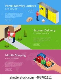 Web banners. Isometric Parcel Delivery Lockers. Self-service. Express Delivery courier service. Mobile Shoping e-commerce. This service provides an alternative to home delivery for online purchases.