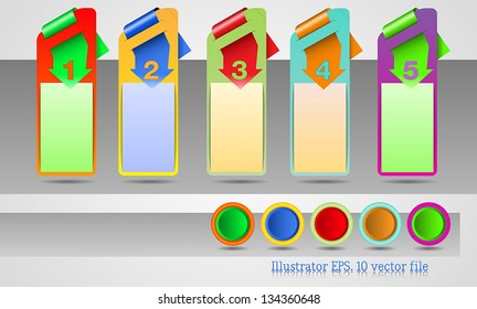 Web banners with number options and different color schemes. Business presentations.