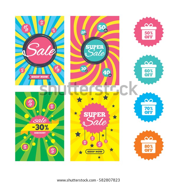 Web banners and sale posters. Sale gift box tag icons. Discount special offer symbols. 50%, 60%, 70% and 80% percent off signs. Special offer and discount tags. Vector