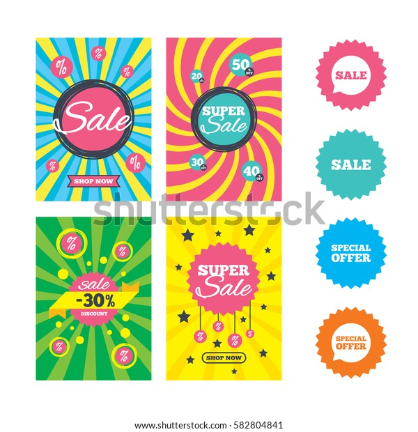 Web banners and sale posters. Sale icons. Special offer speech bubbles symbols. Shopping signs. Special offer and discount tags. Vector