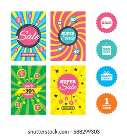Web banners and sale posters. Sale speech bubble icon. Black friday gift box symbol. Big sale shopping bag. First month free sign. Special offer and discount tags. Vector