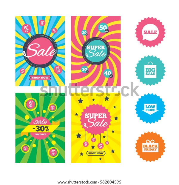 Web banners and sale posters. Sale speech bubble icon. Black friday gift box symbol. Big sale shopping bag. Low price arrow sign. Special offer and discount tags. Vector