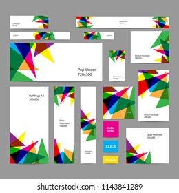 Web banners set with colorful triangle for asian games 2018