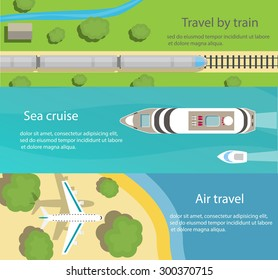 Web banners with top view of train, ship, plane, flat vector icons. Travel and delivery concepts, vector illustration