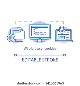 Web browser cookies concept icon. Affiliate and referral tracking software idea thin line illustration. Computing, digital technology, data storage. Vector isolated outline drawing. Editable stroke