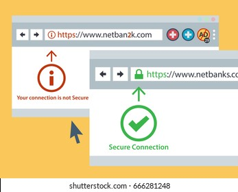 Web browser https secure connection online security concept. vector illustration