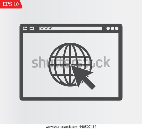 Web browser icon.Go to web icon. Vector illustration