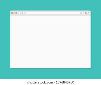Web browser window. Computer or internet frame template design of flat page mockup. Blank screen web browser.
