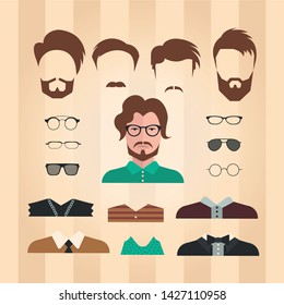 Web business flat set of man avatar. Many different types of hairstyles, eyes, glasses, lips, types of multi-colored, fashionable and colorful clothes.