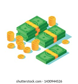 Web business isometric template of a lot of money. Cash, coins.