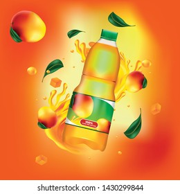 Web business template of a bottle of peach juice. In the foreground is a half-liter bottle of peach juice with a label, and in the background are the peaches themselves.