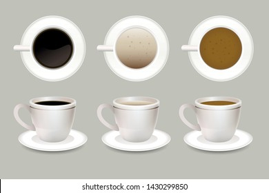 Web business template of coffee mugs from two angles from the top and from the side. Hot coffee is poured into white cups. Coffee in three colors, black, white and brown.