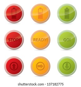 Web button set with various icons and traffic light colors