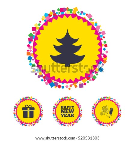 web buttons with confetti pieces happy new year icon christmas tree and gift box