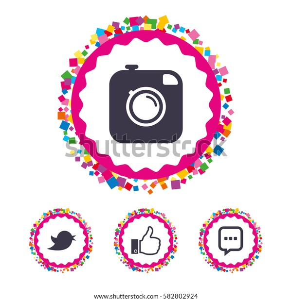 Web buttons with confetti pieces. Hipster photo camera icon. Like and Chat speech bubble sign. Hand thumb up. Bird symbol. Bright stylish design. Vector