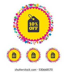 Web buttons with confetti pieces. Sale price tag icons. Discount special offer symbols. 10%, 20%, 30% and 40% percent off signs. Bright stylish design. Vector