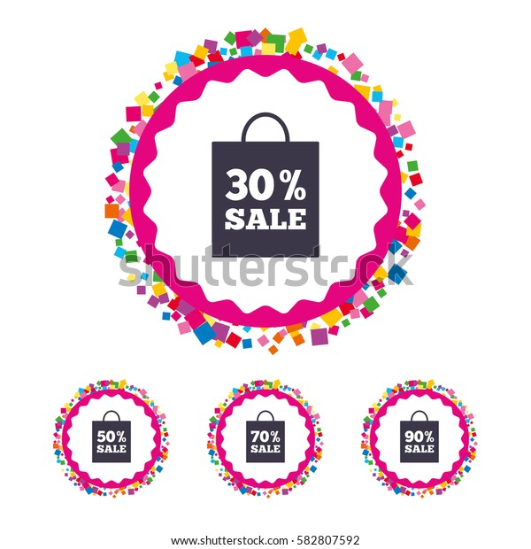 Web buttons with confetti pieces. Sale bag tag icons. Discount special offer symbols. 30%, 50%, 70% and 90% percent sale signs. Bright stylish design. Vector