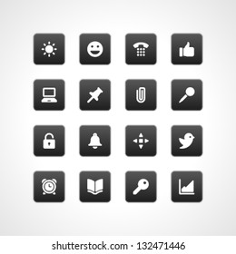 Web buttons and icons for website. Vector illustrations set.