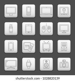 Web buttons, line icons set - digital devices