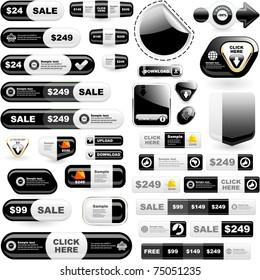 Web buttons. Online marketing - web templates. Sale elements.
