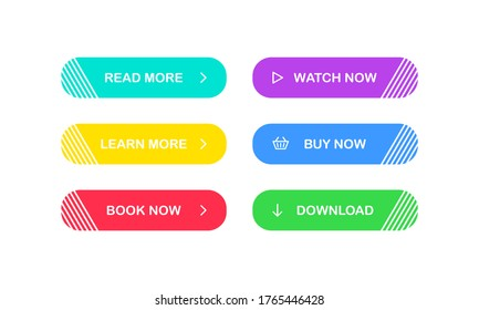 Web Buttons set. Read Learn more Book Watch Buy Download now. Vector EPS 10