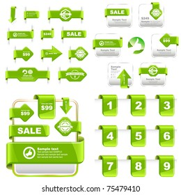 Web buttons and website banners. Offer tag, coupon, label. Vector illustration.