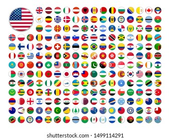 web buttons with world country flags in flat