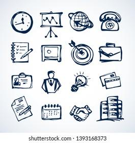 Web Buy lerne Zeit Job-Mitarbeiter Seminar avatar Liste Emblem Set. Linie schwarz Tinte handgezeichnet id safe aim date Bezahlbank Deal Pfeil Logo in doodle art cartoon Vektorgrafik Schreibstift auf weißem Papier Tafel