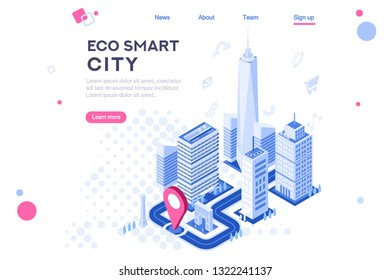 Web city smart eco system for engineers. Build flat complex, tech dashboard, virtual ui, architecture homepage. Map of skyscraper center. Banner, 3d isometric buildings isolated on white background