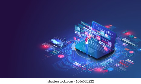 Web coding on laptop. Synchronization work programming in php, python, javascript, other languages data with cloud storage. Concept script coding and programming other languages. Software developers.