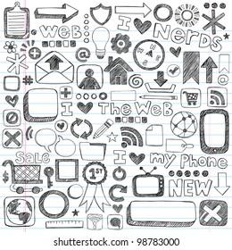 Web / Computer Doodle Icon Set - Back to School Style Sketchy Notebook Doodles Vector Illustration Design Elements on LIned Sketchbook Paper