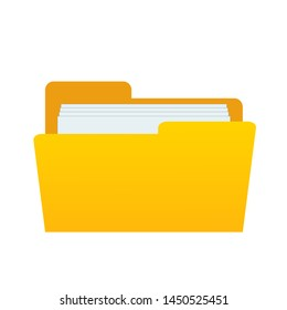web computer yellow folder with documents files for design on white, stock vector illustration
