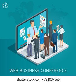 Web Conference banner. Man on the notebook holds a webinar. People listen to the lecturer. Isometric concept. Highly detailed illustration