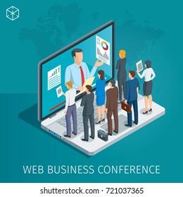 Webkonferenz-Banner. Ein Mann auf dem Notebook hat ein Webinar. Die Leute hören dem Vortragenden zu. Isometrisches Konzept. Detaillierte Abbildung