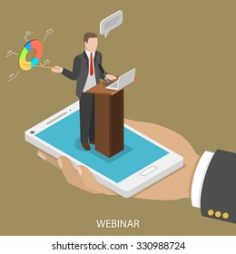 Web conference flat isometric vector concept. Man's hand takes a smartphone with webinar speaker on it.
