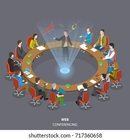Web conferencing flat isometric low poly vector concept. Business people are sitting at the round table and listening a speaker who shows his report through the hologram technology.