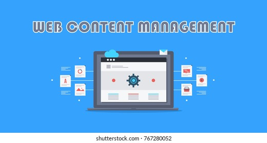 Web content, content management system, CMS, Content marketing and publication flat vector concept with icons