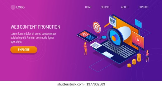 Web content promotion, advertising, marketing content on web, 3D, isometric vector banner with icons and texts