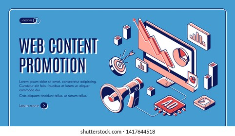 Web content social media promotion web banner, digital marketing, e-commerce, data analysis tool, loudspeaker, column charts on computer screen. advertising and promo 3d vector landing page, line art