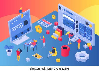 Web creative develop team isometric, vector illustration. Worker programming responsive website, apps, marketing plan and graphic design. Man and woman near large computer screen, workspace.