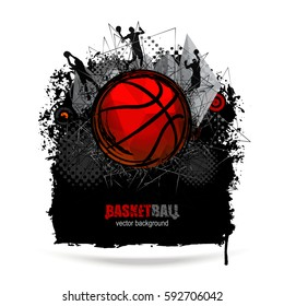 Web design for basketball. Collage Sports. Grunge banner. Polygon style.  EPS file is layered.
