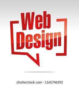 Web design in brackets speech red white isolated sticker icon