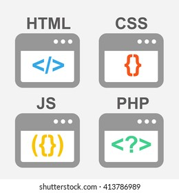 Web design, coding and programming flat vector icons set: PHP, HTML, CSS, JS, javascript.